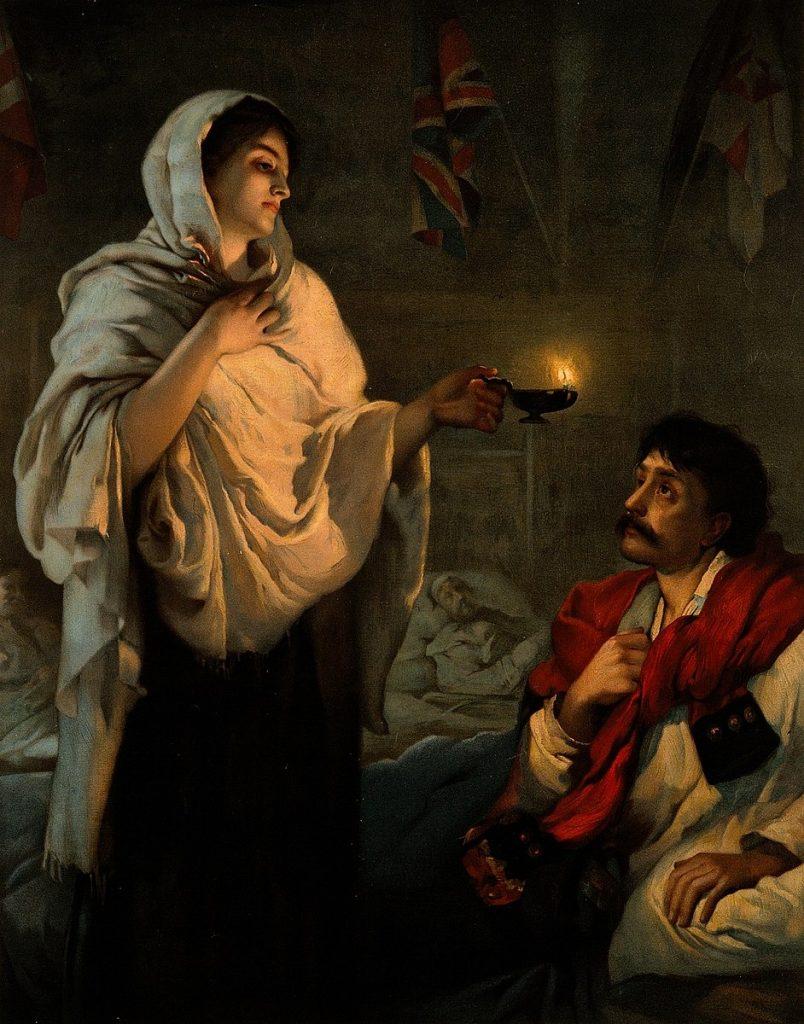 cuadro de la dama de la lampara antigua enfermera