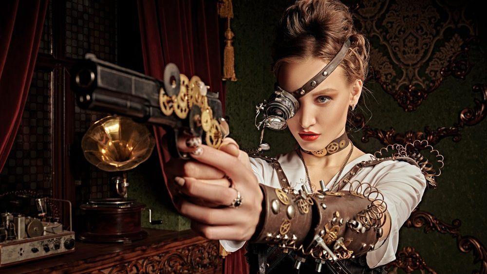 mujer con vestido y corsé steampunk